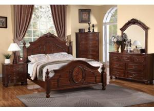 F9141 Queen Bed with dresser, mirror, nightstand and chest with optional TV chest ,MEK IMPORTS