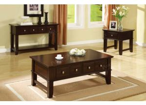 F6193 Brown 3 piece coffee, console and end table combination,MEK IMPORTS
